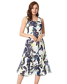 Roman Floral Bias Cut Midi Dress