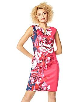 Roman Floral Print Fitted Scuba Dress