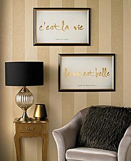 Cest La Vie Metallic Framed Print