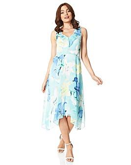 Roman Floral Chiffon Frill Midi Dress