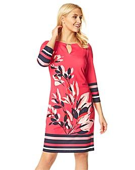 Roman Floral Stripe Print Shift Dress