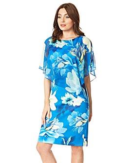 Roman Floral Overlay Chiffon Dress