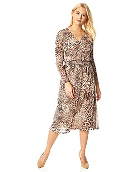 Roman Animal Print Mesh Fit and Flare...