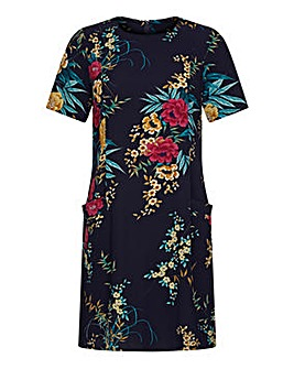 Yumi Curves Floral Navy Tunic Dress