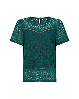 Yumi Curves Short Sleeve Lace Top