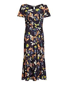 Yumi Curves Butterfly Printed Midi Dres