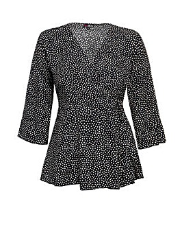 Lovedrobe GB Black Dot Print Wrap Blouse