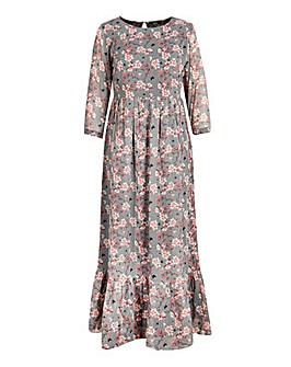 Koko Grey Blossom Print Maxi Dress