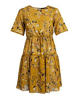 Koko Floral Mustard Midi Tie Front Dress