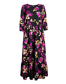 Koko Dark Florals Satin Maxi Dress