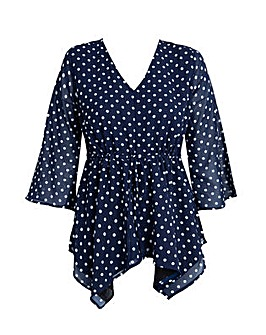 Koko Polka dot Waterfall Tie Waist top