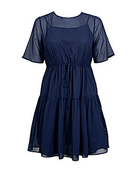 Koko Navy Tie Front Midi Dress
