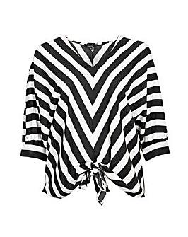 Koko Monochrome Stripe Batwing Blouse