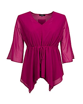 Koko Waterfall Tie Waist Wine Blouse