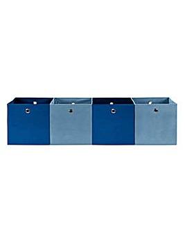 Hygena 4 Large Boxes - Dark & Light Blue