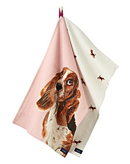 Joules Set of 2 Lilac Dog Tea Towels