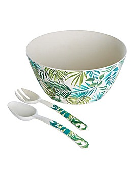 Polynesia Bamboo Salad Bowl and Servers