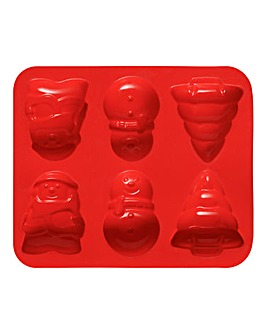 Red 6 Christmas Cake Silicone Mould