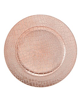 Rose Gold Faux Crocodile Charger Plate