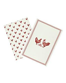 Farm Hen Set of 2 Tea Towels