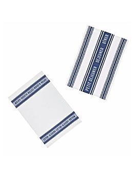 Jacquard Dark Blue Set of 2 Tea Towels