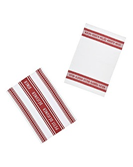 Jacquard Dark Red Set of 2 Tea Towels