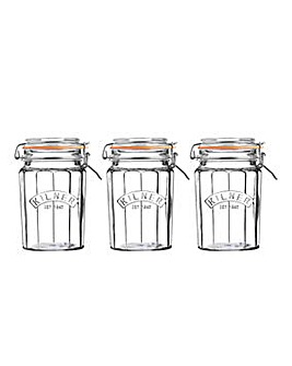 Facetted Cliptop Jar Set of 3