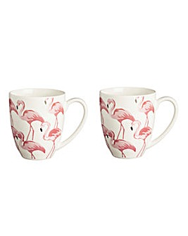 Set of 2 Pink Flamingo Mugs