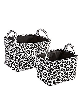 Leopard Print Set of 2 Fabric Baskets