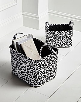 Leopard Print Set of 2 Fabric Baskets