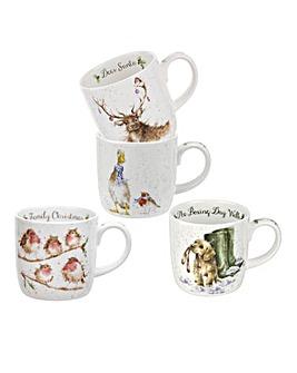 Wrendale Christmas Set of 4 Animal Mugs