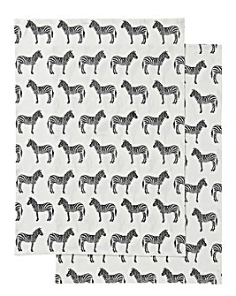 Zebra Print Set of 2 Tea Towels