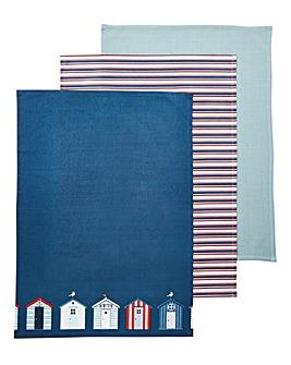 Beach Huts Set of 3 Tea Towels