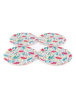 Flamingo Bamboo Set of 4 Dinner Plates