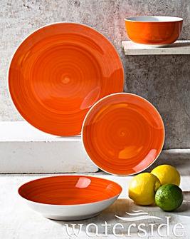 Flame Orange Spin Wash 16 Pc Dinner Set