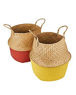 Set of 2 Rooted Belly Baskets