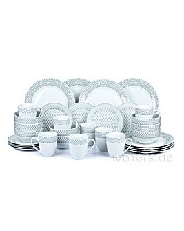 Grey Droplet 32 Piece Dinner Set