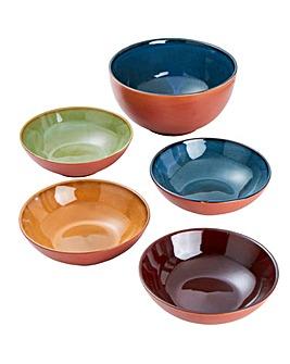 `Terracotta Glaze 5 Piece Bowl Set