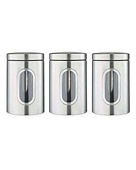 Stainless Steel Set of 3 Tea, Coffee, Sugar Storage