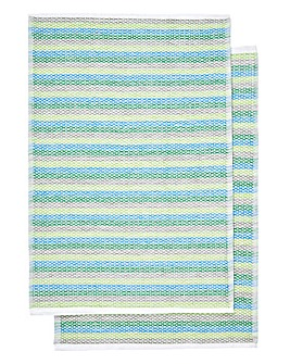 Funky Weave Blue Tea Towels Pack of 2