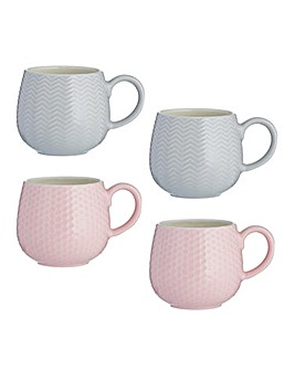 Embossed Mugs Set of 4