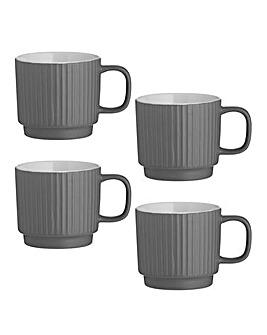 Embossed Line Grey Mugs Set of 4