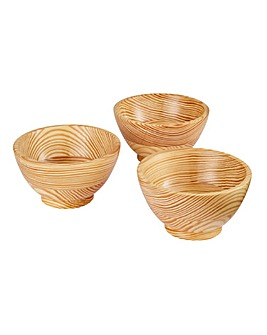 Set of 3 Wooden Nibbles Bowls