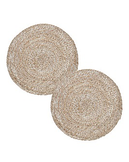 Set of 2 Natural Round Woven Placemats