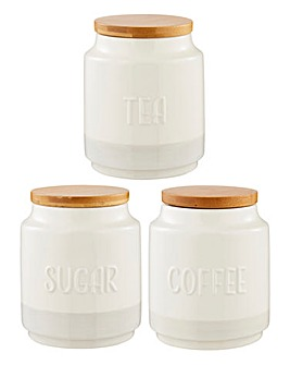 Set of 3 Monochrome Tea, Coffee, Sugar Canisters