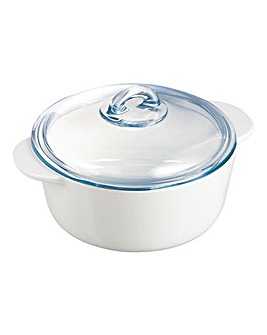 Pyrex Flame Round Casserole Dish 2L
