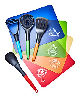 Set of 4 Chopping Mats & Utensils