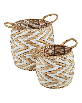 Set of 2 Chevron Stripe Baskets