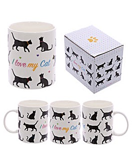 New Bone China Mug - I Love My Cat