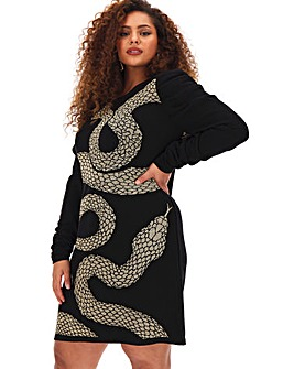 Snake Print Knitted Dress